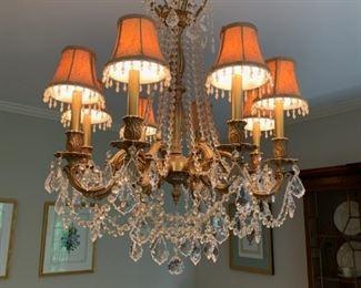 Vintage gold and crystal chandelier