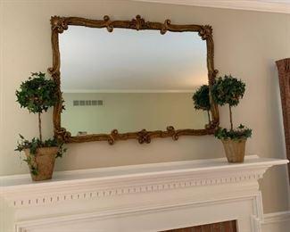 Vintage gold mirror, ivy topiaries