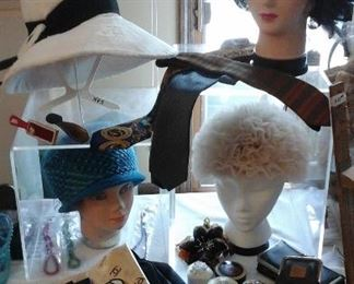 Vintage hats by Lilly Dache', Christian Dior, and others.