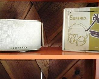 Telefunken speaker and Superex headphones in original box.