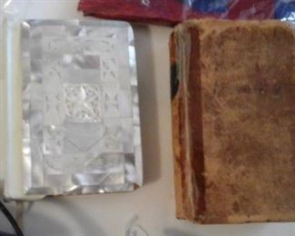 New Testament Red Letter version from Jerusalem, mother of pearl front cover, 1859 hymn book Southern Methodist.