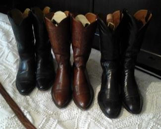 From left to right Bostoman 9 1/2 D, Two pairs Lu cchese 9 1/2 D cowboy boots