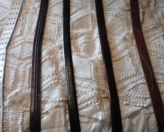Men's belts two Lucchese, two italian calf skin and Harness cow hide 3 prong buckle
