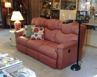 Leather Lazy Boy reclining sofa