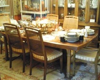 Mid Century dining room table with 4 side chairs, 2 arm chairs,  2 leaves and pads. By Flair Inc. For Hibriten Furniture  Co.