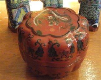 Beautiful Chinese Red Dragon lacquered paper  mache box. (Vintage)