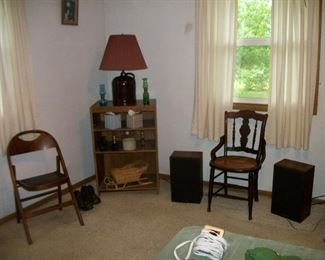 Cane Bottom Chair, Lamp, Folding Chair, Speakers