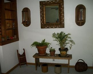 Antique Mirror, Wooden Bench, Small Crocks