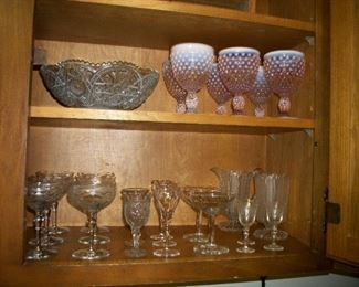 Fenton Pink Opalescent Hobnail set of 6 glasses