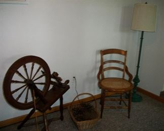 Cane Bottom Chair, Spinning Wheel, Lamp