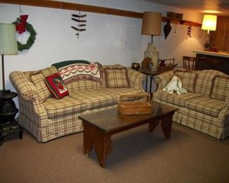 Pot Belly Stove Lamp, Couch, Loveseat, Wooden Bench