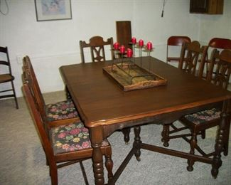 Walnut Table & 5 Chairs