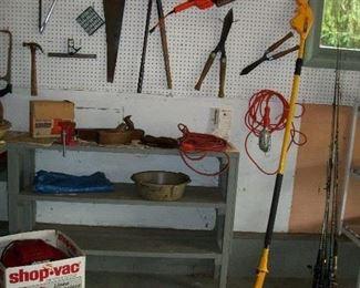 Shop Vac, Fishing Poles, Wood Planes, Black & Decker Trimmer, Hand Saw