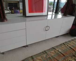 White Lacquer and Glass Top Two Piece Console