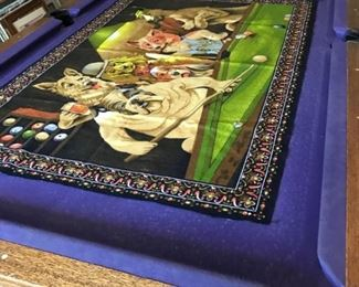 8' BILLIARD TABLE, CUES, BALLS, RACK, ELEVATED CHAIRS