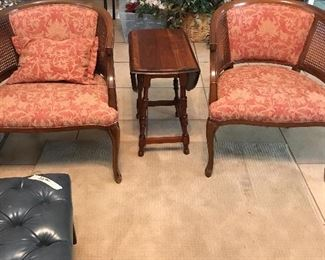 Cane-back Chairs and Antique drop-leaf table