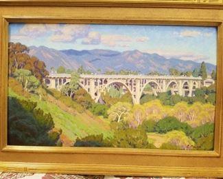 Original Charles Muench painting of the Colorado Street Bridge in Pasadena, CA