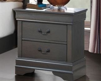 Louis Philippe III CM7866GY-N Night Stand with Transitional Style Antique Drawer Pulls Bracket Feet Solid Wood Wood Veneer Others* in