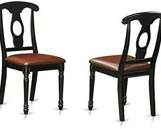 East West Furniture KEC-BLK-LC Dining Room Chair Set with Faux Leather Upholstered Seat, Set of 2