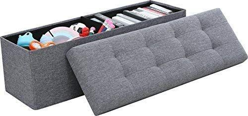 Ornavo Home Foldable Tufted Linen Large Storage Ottoman Bench Foot Rest Stool/Seat - 15  x 45  x 15  (Grey)