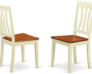 East West Furniture ANC-WHI-W Kitchen/Dining Chair Set with Wood Seat, Buttermilk/Cherry Finish, Set of 2