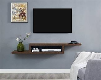 Martin Furniture Asymmetrical Floating Wall Mounted TV Console, 60inch, Skyline Walnut