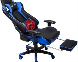 Nokaxus Gaming Chair Large Size High-Back Ergonomic Racing Seat with Massager Lumbar Support