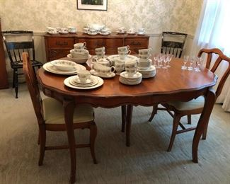 Dining Table w/ 3 Leaves, Chairs, China, Sideboard