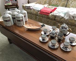 Coffee Table, Old Canister  Set, Demitasse  Set