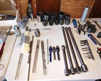"Garage:  Large Extention Bars 3/4"", Socket Holders, Large Sockets, Hole Punches, Tec."