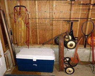 Basement: Sled, Cooler, Vintage Scooter