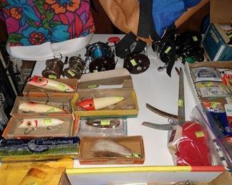Basement:  Fishing Reels, Plugs, Hooks, Spinners, Etc.