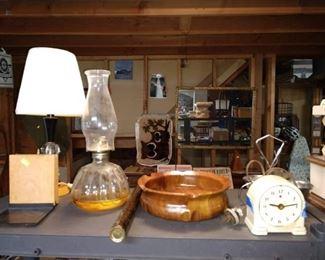 Basement:  Oil Lamp, Clock, Lamp, Bowl