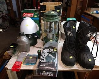 Basement: Canteen, Colman Lamp, Rain Gear, Boots