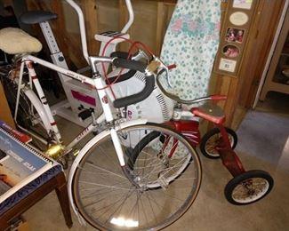 Basement:  Schwinn Bicycle, Vintage Trike, Iron Board, Exercise Bike