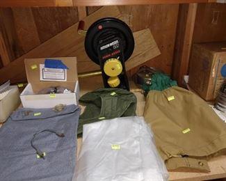 Basement: Penn Fathom-Master 600, Cloth Bags, Ski Goggles, Plastic Ground Cover