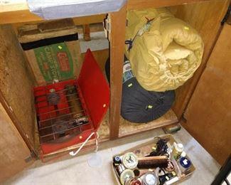 Basement:  Stove, Sleeping Bags, Shoe Shine Kit
