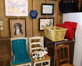 Basement:  Pictures, Wood Chairs, Cane Chair, Small Refrigerator,