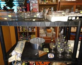 Basement: Pyrex Cake Plates, Glasses, Other Things
