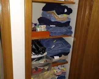 2nd Hall Closet:  Towels, Wash Cloths, Blood Pressure Machine, Other Stuff