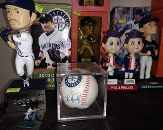 Dining Room:  Mariners Stuff  Ichiro, Felix Hernandez, Phil & Phillis-Phillys Bobbleheads, Autographed Baseball