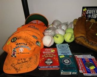 Dining Room:  Autographed Spring Training Orange Hats w/Collector Pins, Seahawks New Stadium CoinsAug 2002, Mariners Baseball Cards, Olympics Coins, Baseballs, Tennis Balls
