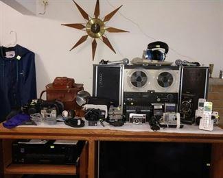 Living Room: Sony Reel to Reel, Kodak Cameras, Pentex & Others