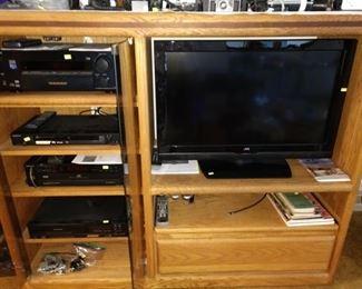 Living Room Black Crystal JVC 32BC3992, Sony STR-DA1ES5.1 Channel AV Home Theater Dolby Digital Receiver, JVC-HR-D830U VHS, Sony CDP-C215, Sony NS-NS315
