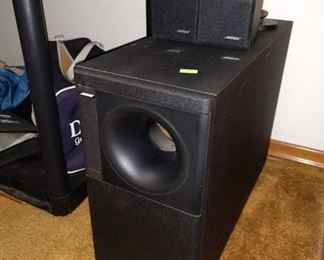 Living Room: Bose Woofer & Small Speakers
