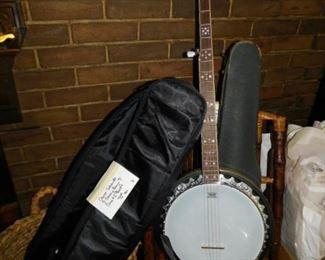 Oscar Schmidt 5-String Banjo with Case and 2 Books