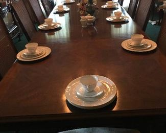 White of Mebane, NC Double Pedestal Parquetry Table with 10 Caned Chairs $3800