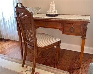 Beautiful desk w/cane back chair