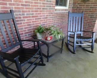 Rocking Chairs - side table and Plants