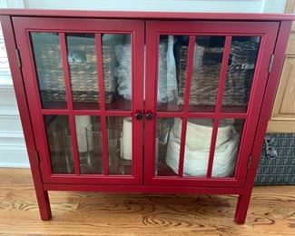 "1. Red Cabinet w/ 2 Window Pane Doors (34"" x 15"" x 31"")"